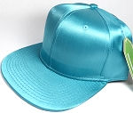 Crown Hat Original - Wholesale Faux Smooth Silk Blank Solid Snapback Caps - Turquoise