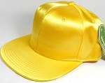 Crown Hat Original - Wholesale Faux Smooth Silk Blank Solid Snapback Caps - Yellow