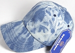 Washed 100% Cotton Plain Baseball Cap - Slider Buckle - Splash Pattern - Light Denim