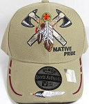 Wholesale Native Pride Baseball Cap - Warrior Axe - Khaki