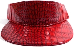 Flatbill Blank Snapback Visors Wholesale - Alligatorskin - Red