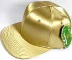 Crown Hat Original - Wholesale Faux Smooth Silk Blank Solid Snapback Caps - Gold