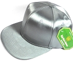 Crown Hat Original - Wholesale Faux Smooth Silk Blank Solid Snapback Caps - Light Grey