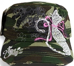 Wholesale Distressed Rhinestone Castro Caps - Lovely Cat - Camo