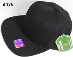 Fitted Size Caps - Wholesale Plain Hat - 6 7/8 - Black