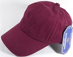 Washed 100% Cotton Plain Baseball Cap - Gold Metal Buckle - Burgundy