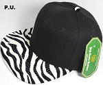 PU Blank Zebra Snapback Hats Wholesale - Black Crown