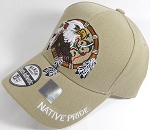Wholesale Native Pride Baseball Cap - Eagle Dream Catcher- Khaki