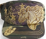 Wholesale Rhinestone Distressed Cadet Vintage Hats - Horse - Camo