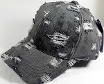 Washed 100% Cotton Distressed Baseball Cap - Gold Metal Buckle - Charcoal