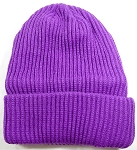 Wholesale Winter Knit Long Cuff Beanie Hats - Solid Purple