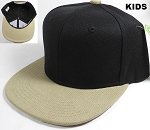KIDS Jr. Plain Snap back Hats Wholesale - Two Tone - Black | Khaki
