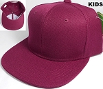 KIDS Jr. Plain Snapback Caps Wholesale - Solid - Burgundy