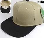 KIDS Jr. Plain Snap back Hats Wholesale - Two Tone - Khaki | Black