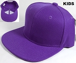 KIDS Jr. Plain Snapback Caps Wholesale - Solid - Purple