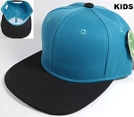KIDS Jr. Plain Snap back Hats Wholesale - Two Tone - Turquoise | Black