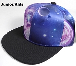 KIDS Jr. Galaxy Snapback Caps Wholesale - Blue Space - Black Brim