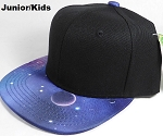 KIDS Jr. Galaxy Snapback Caps Wholesale - Blue Space - Black Crown