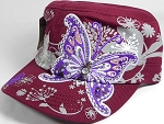 Rhinestone Purple Butterfly Cadet Hats Floral Band Wholesale - Burgundy