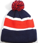 Beanies Wholesale | Pom Pom Beanies Trendy Winter Hats - Navy and Red