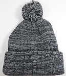 Knit Pom Pom Beanies Trendy Winter Hats - Mixed Gray and Black