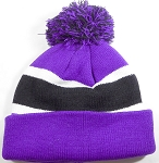 Beanies Wholesale | Pom Pom Beanies Trendy Winter Hats - Purple and Black