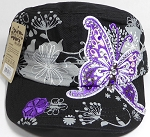 Rhinestone Purple Butterfly Cadet Hats Floral Band Wholesale - Black