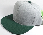 Wholesale Blank Snapback Cap - Denim Light Grey Indigo - Dark Green Brim