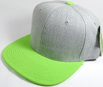 Wholesale Blank Snapback Cap - Denim Light Grey Indigo - Lime Green Brim