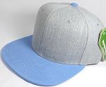 Wholesale Blank Snapback Cap - Denim Light Grey Indigo - Sky Blue Brim