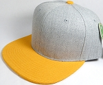 Wholesale Blank Snapback Cap - Denim Light Grey Indigo - Golden Yellow Brim