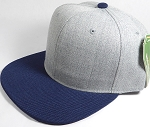 Wholesale Blank Snapback Cap - Denim Light Grey Indigo - Navy Brim