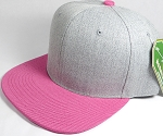 Wholesale Blank Snapback Cap - Denim Light Grey Indigo - Hot Pink Brim