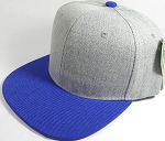 Wholesale Blank Snapback Cap - Denim Light Grey Indigo - Royal Blue Brim