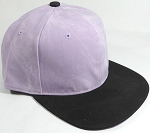 PU Suede Wholesale Blank Snapback Caps - Black Brim - Light Purple