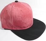 PU Suede Wholesale Blank Snapback Caps - Black Brim - Strawberry Red
