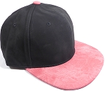 PU Suede Wholesale Blank Snapback Caps - Black Crown - Strawberry Red
