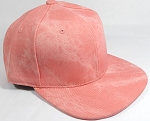PU Suede Wholesale Blank Snapback Caps - Solid - Peach Pink