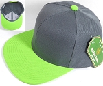 Blank Snapback Hats & Caps Wholesale - Dark Gray | Lime Green Brim