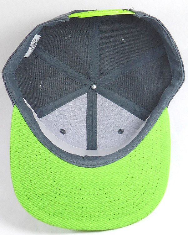 603337d13 Blank Snapback Hats & Caps Wholesale - Dark Gray | Lime Green Brim