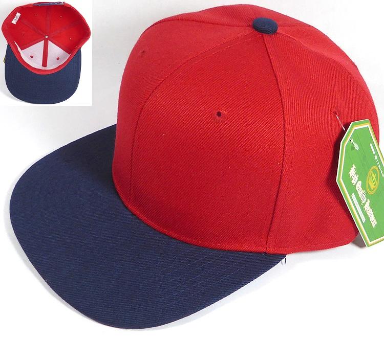 Blank Snapback Hats & Caps Wholesale - Red | Navy Brim