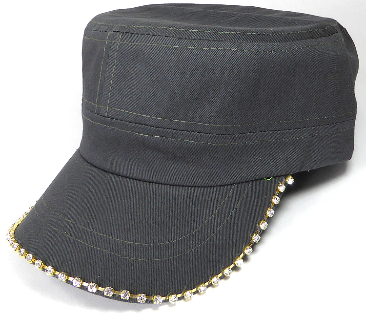 cf2628656fb ... Caps Wholesale - Dark Gray. Bling Blank Cadet Cap