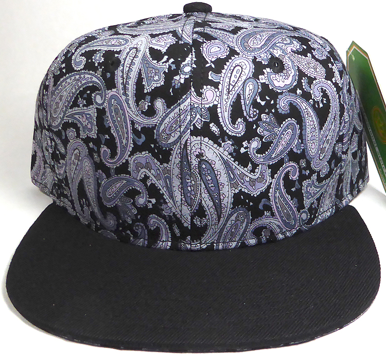 Wholesale Blank Snapback Hats - Black Gray Paisley - Black Brim ef6b299b560