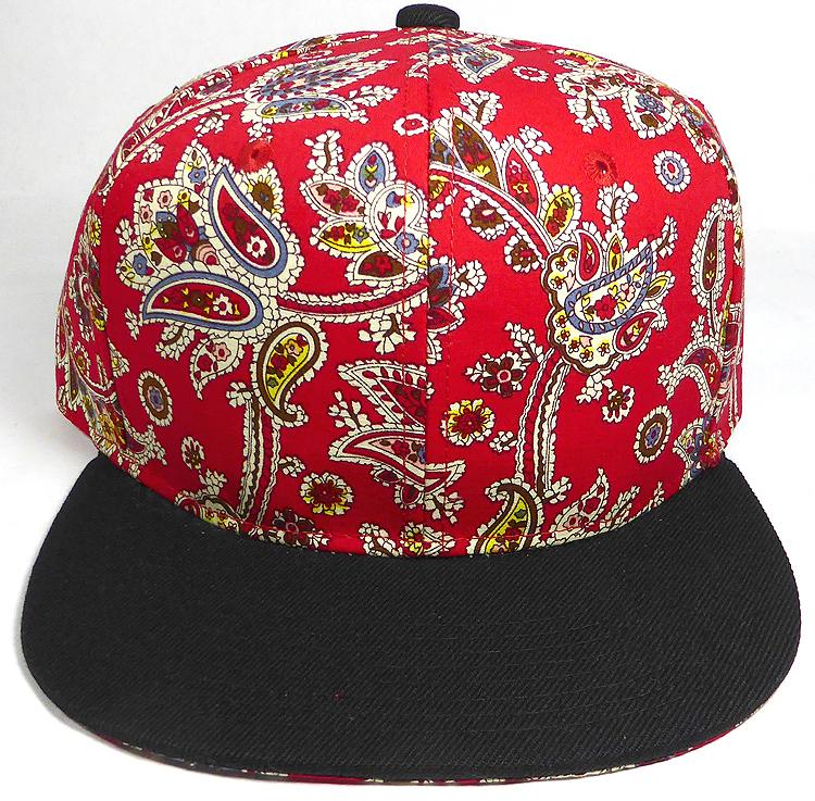 Wholesale Blank Snapback Hats - Red Paisley - Black Brim aa82a5bc0ab