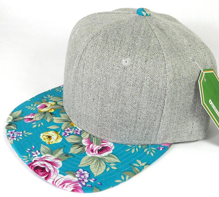 Wholesale Light Grey Denim Snapback Cap - Floral - Turquoise Rose 6ea4da18872