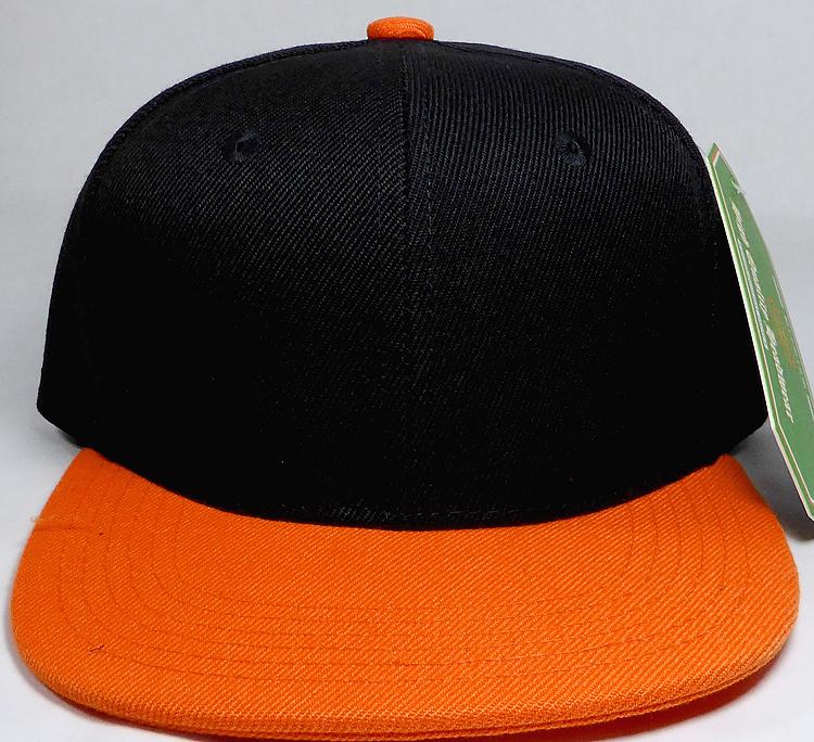 b71582c4c KIDS Jr. Plain Snap back Hats Wholesale - Two Tone - Black | Orange