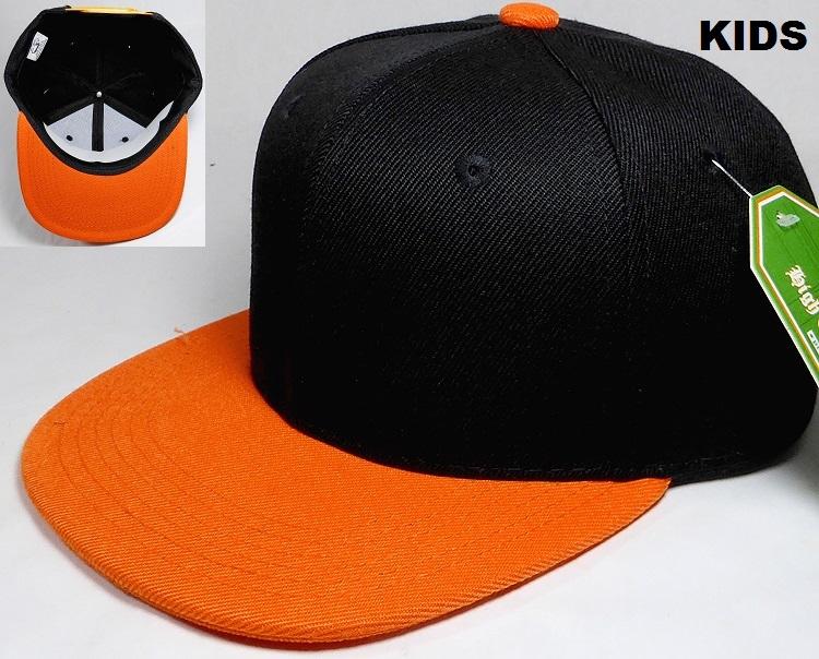 4c4bda9b663 KIDS Jr. Plain Snap back Hats Wholesale - Two Tone - Black