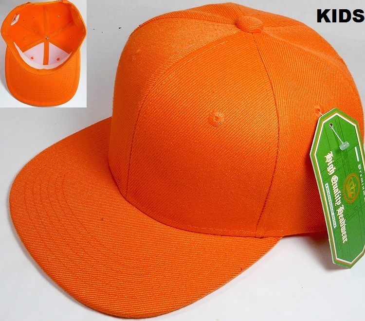 58888449a KIDS Jr. Plain Snap back Hats Wholesale - Solid - Orange