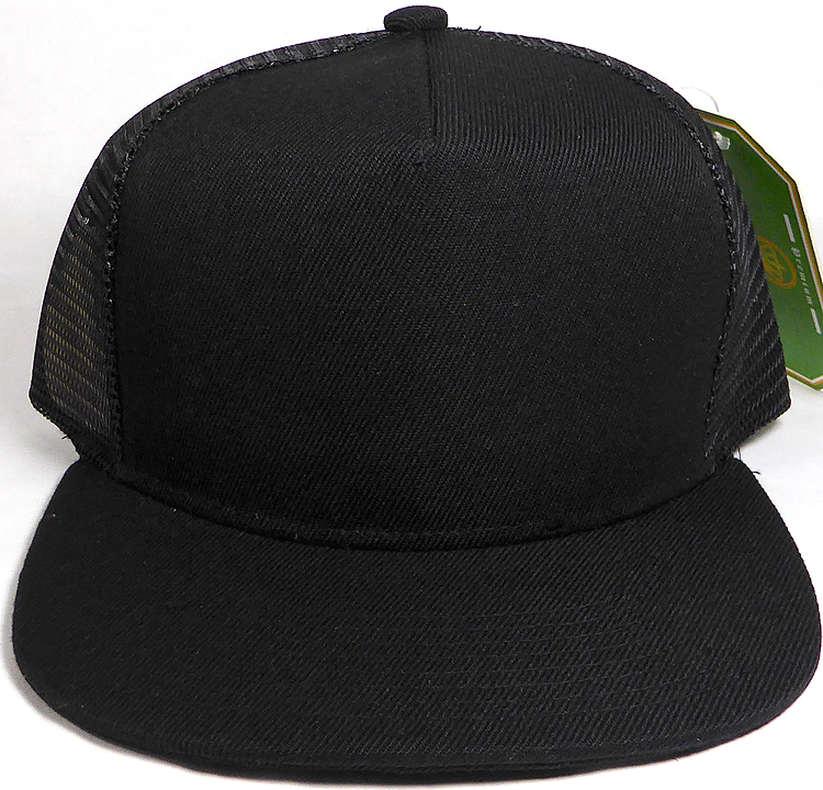 Solid Trucker Mesh Hat Wholesale 5 Panel Snapback Blank Hats - Black