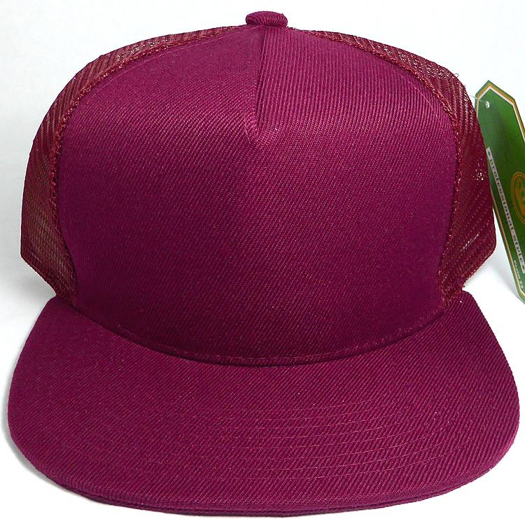 Wholesale Mesh Trucker 5 Panel Snapback Blank Hats - Solid - Burgundy 2bb815730d7